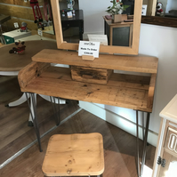 Reclaimed Wooden Dressing Table with Mirror and Stool on Hairpin Legs