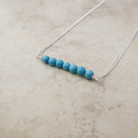 Blue Turquoise Bar Necklace. Turquoise Jewellery. Birthstone Jewellery.