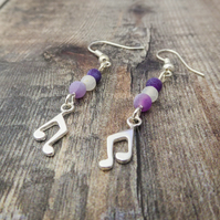 Music Note Earrings. Purple Earrings. Musician Gift. Music Jewelry. chakra.
