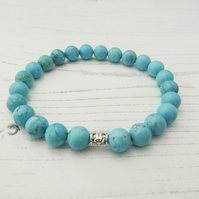 Turquoise Bracelet. December Birthstone.  Beaded Bracelet. Gift For Her.