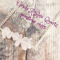 Rose Quartz Bar Necklace.  January Birthstone, Heart Chakra, Gemstone Necklace.