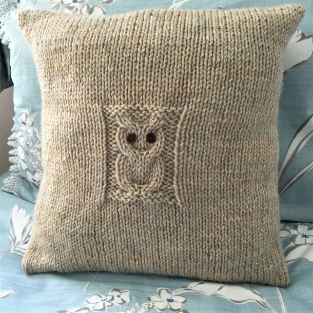 Solitary Owl Cushion Cover Pdf Knitting Pattern Folksy