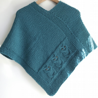 Owls Poncho - child 7-10 yrs - 100% wool