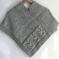 Owls Poncho - child 4-6 yrs - 100% wool - silver grey