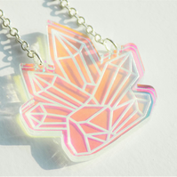 Crystal Cluster Iridescent Acrylic Laser Cut Necklace