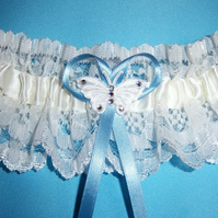Butterfly wedding bridal garter ivory lace
