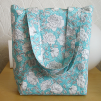 Floral tote bag shopper blue and white bag