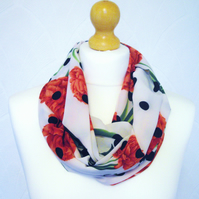Red and off white flower polka dot infinity scarf loop chiffon cowl