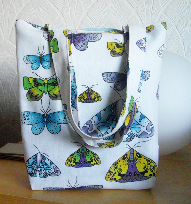 Butterfly moths tote bag shopper canvas bag