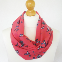 Coral birds and butterflies infinity scarf loop chiffon cowl
