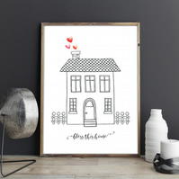 Bless This Home Minimalist Doodle Sketch House Watercolour Hearts Home Print
