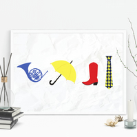 How I Met Your Mother - Blue French Horn,Yellow Umbrella,Red Cowboy Boots Print