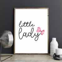 Little Lady Minimalist Typography Pink Watercolour Bow Girls Room Wall Art Print