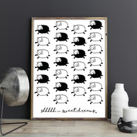 Shhhhh... Sweet Dreams Counting Sheep Black and White Monochrome Kids Room Print