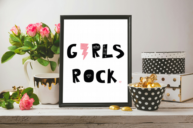 Girls Rock Pink Black Minimalist Scandinavian Design Cute Typography Girls Print