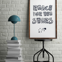 Reach for the Stars Minimalist Doodle Typography Motivational Inspirational Prin