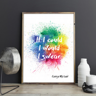 If I could, I would, I swear George Michael A Different Corner Song Lyrics Print