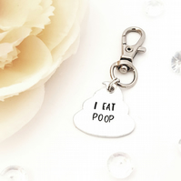 I eat poop dog collar accessory tag