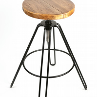 Adjustable Hairpin Stool (Handcrafted) Kitchen, and Bar Seat Round, European W
