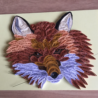 Fox Card, Paper Sculpture, 3D Fox Portrait makes super Wildlife Picture,