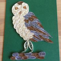 Barn Owl Card, Paper Sculpture of a  Hunting Bird