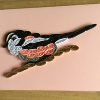 Long Tailed Tit Card, Garden Bird,  Pink and White Feathers and a Long Tail.