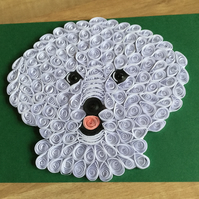 Bichon Frise Card, White Dog on a Green Card, Cute Paper Sculpture.
