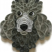 Poodle Card, Standard Poodle, Paper Sculpture of a Well Groomed Dog.
