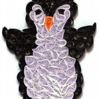 Penguin Card, Young Penguin decorates  Childrens Card or Nursery Decor