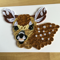 Fallow Deer Card, Paper Sculpture makes a super Card for Nature Lover