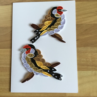 Goldfinch Card, Bird Portrait, Sweetheart Card,  Valentines Card,