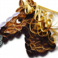 Blonde Horse, Quilled Card, Paper Sculpture of a Horse with a Blonde Mane.