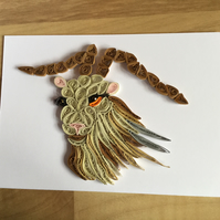 Kashmir Goat Card, Wildlife Picture of a Quilled Goat, ideal  Animal Lovers Card