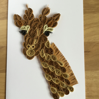 Giraffe Card, Paper Sculpture of a Popular Wild Animal,