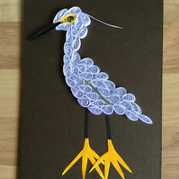 White Bird Card, Egret or White Heron with incongruous yellow feet.