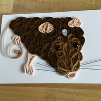 Brown Rat Card, Quilled Rodent with a twitchy pink nose and long tail.