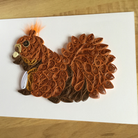 Red Squirrel Card, Quilled Portrait of a Popular Woodland Animal,