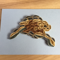 Turtle Card, Paper Sculpture of a Turtle swimming in a clear blue sea