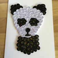 Panda Card, Paper Sculpture, Childs Birthday Card, Nursery Decor, Panda Decor