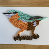 Nuthatch Bird Card, Paper Sculpture of a Colourful Native Bird