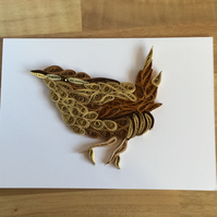 Wren Card, Bird Portrait, Paper Sculpture of Jenny Wren, a  tiny British Bird