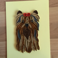 Yorkshire Terrier Card, Paper Sculpture of a Family Pet or New Puppy,