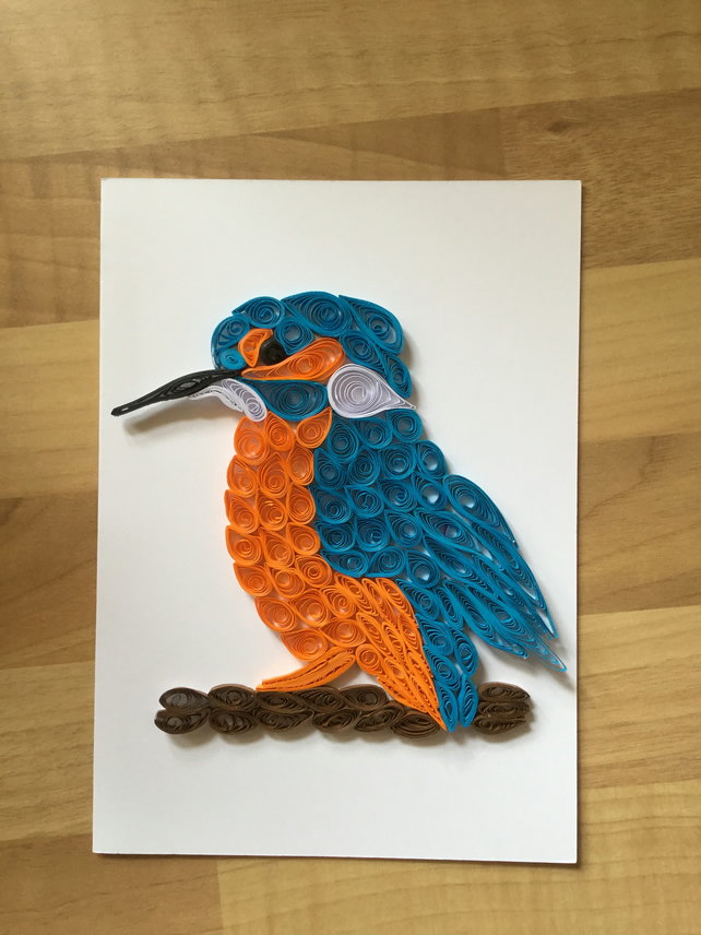 Kingfisher Card, Quilled Portrait, River Bank ... - Folksy