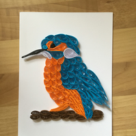 Kingfisher Card, Quilled Portrait of a Colourful  River Bank Bird.