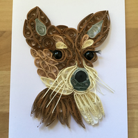 Chihuahua Card, Paper Sculpture of a New Puppy.