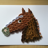 Horse Card, Smart Horse with a Plaited or Straight Mane.