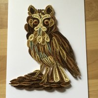 Long Eared Owl Card, Medium size well camouflaged bird.