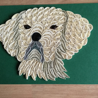 Golden Retriever Card, Portrait of a much loved  Family Pet.