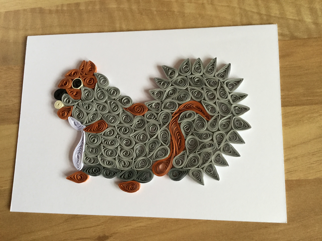 Grey Squirrel Card, Paper Sculpture of a Woodland Creature.