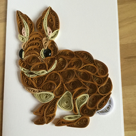 Rabbit Card, Animal Picture, Paper Craft Bunny, Easter Card